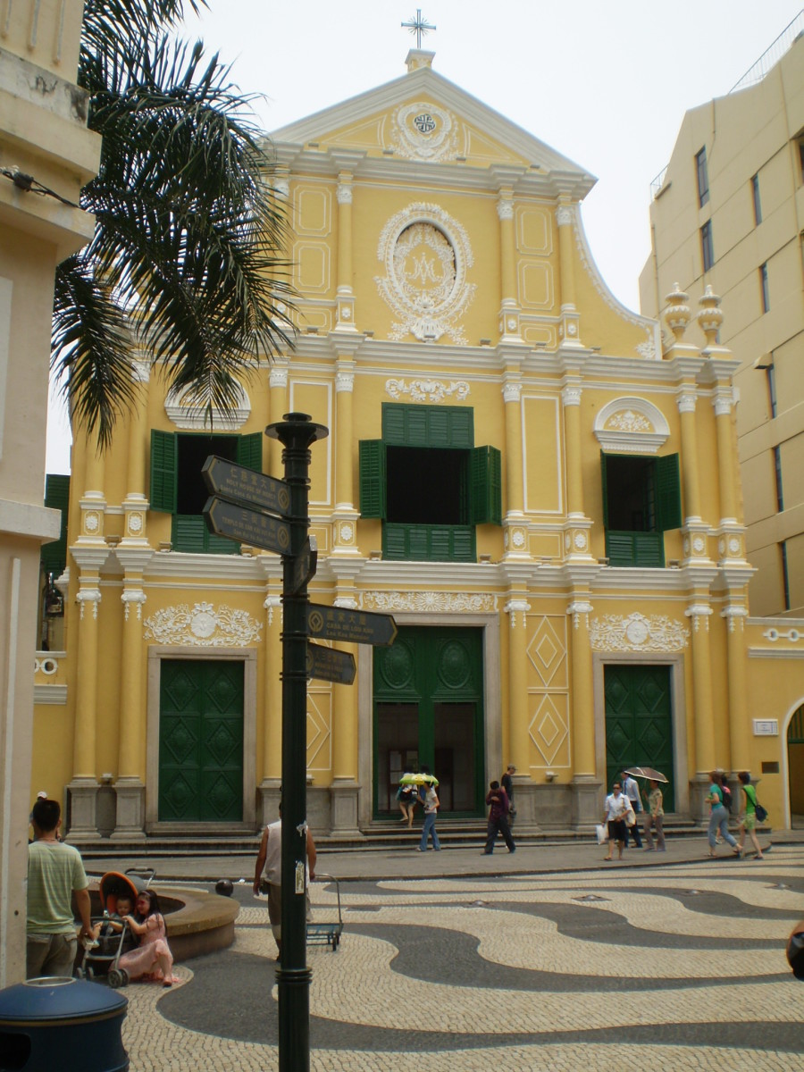 St. Dominic's and Senado Square in Macau - a reminder of the splendors of the Portuguese Empire.