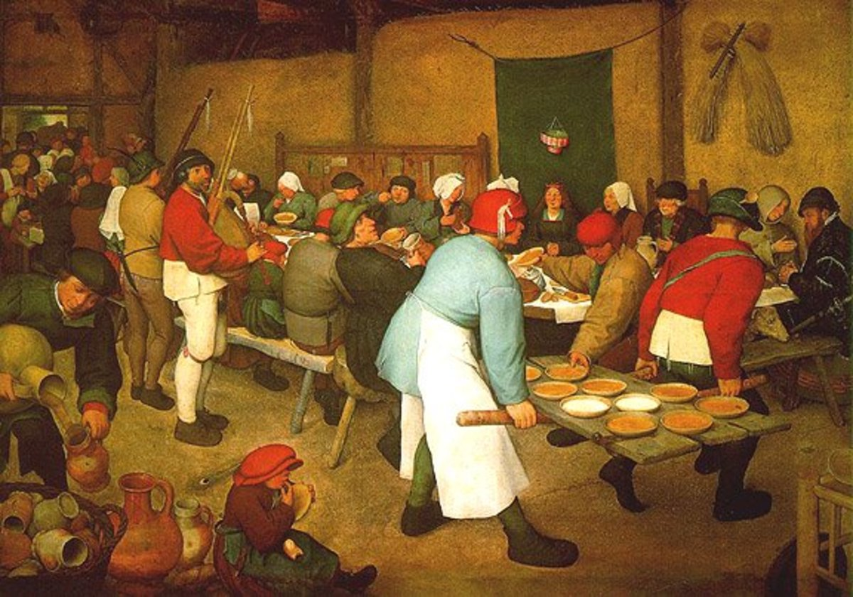 Pieter Breugal the Elder painted this peasant wedding feast complete with unlimited porridge pies and bagpipes, in 1567.