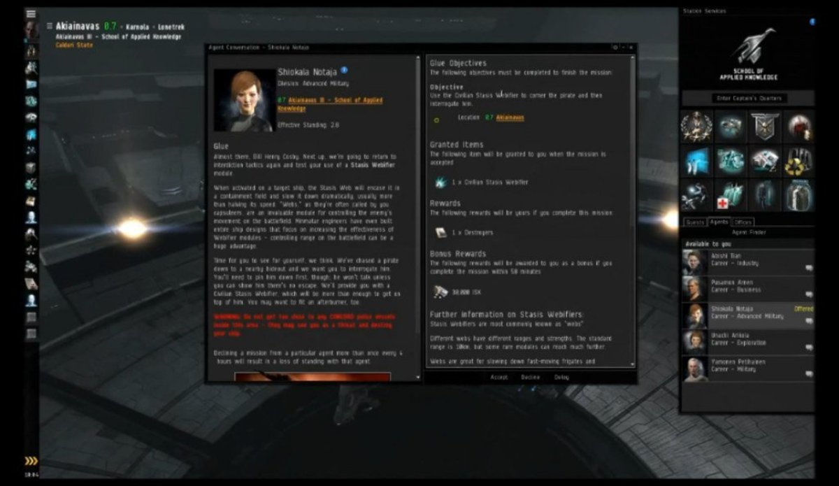 """""""EVE Online"""" Advanced Military Arc Guide: Glue & The Exam (Missions 9 & 10)"""