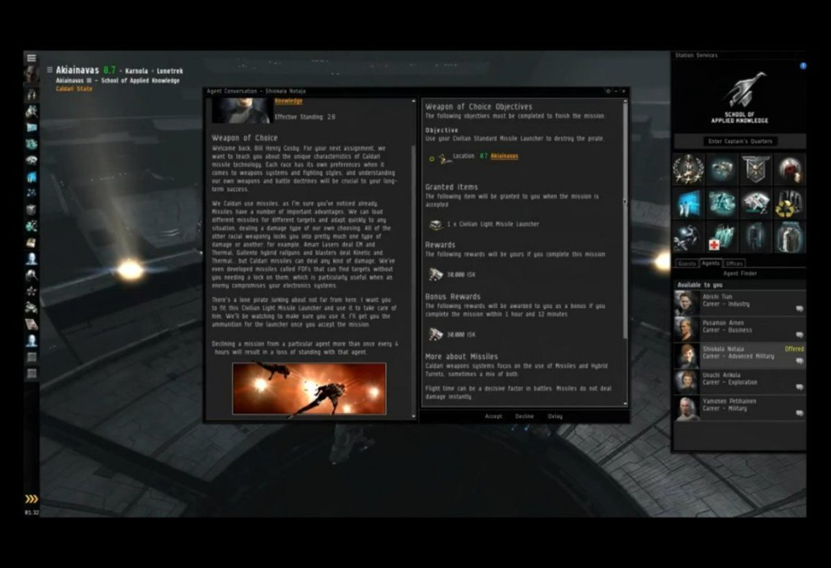 """""""EVE Online"""" Advanced Military Arc Guide: Weapon of Choice & The Pacifist (Missions 7 & 8)"""