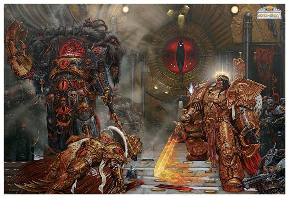 The Emperor (Right) vs Horus (Left), the finale of the Horus Heresy