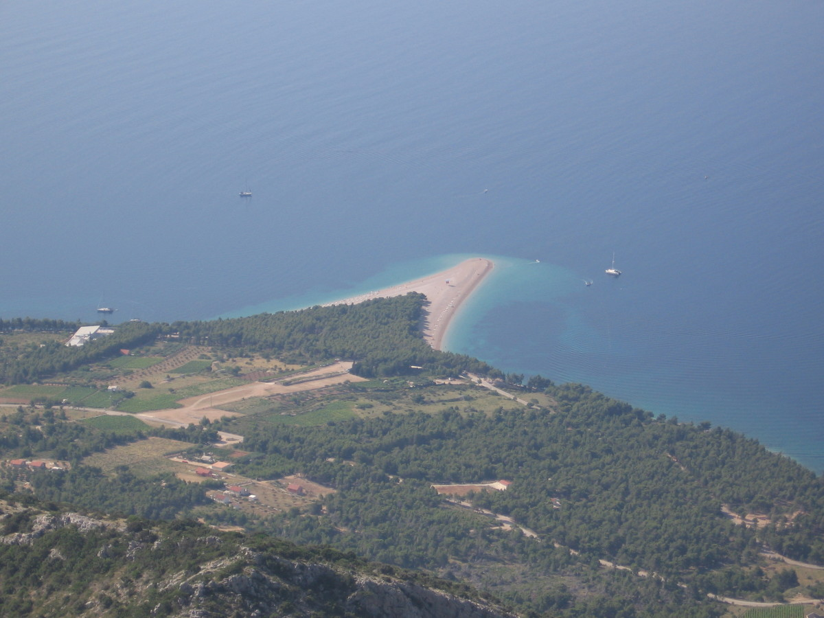 Zlatni Rat Beach, Bol and Inland:  Brac Island, Croatia