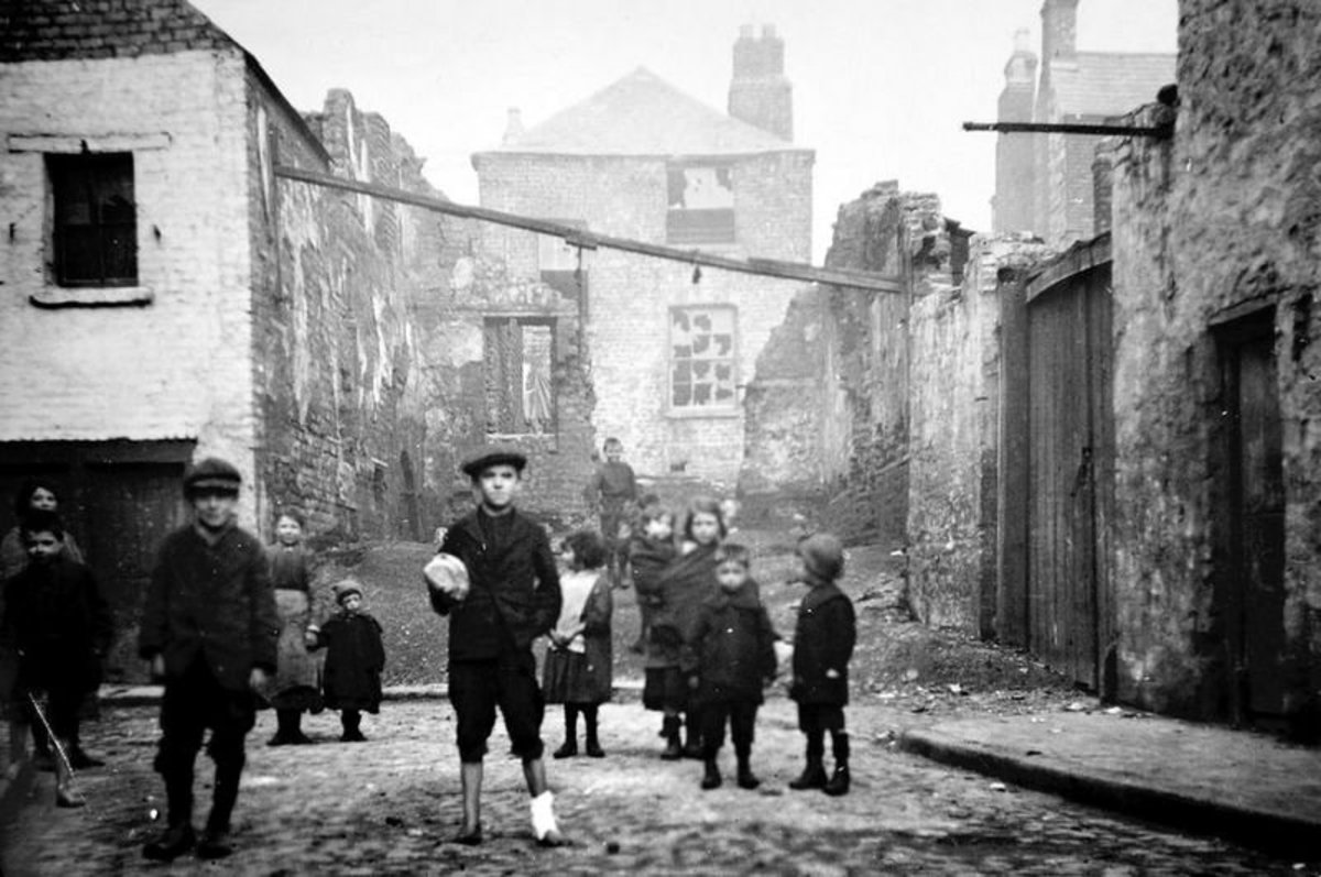 Over crowded Dublin slums in Ireland and the Irish cholera epidemic