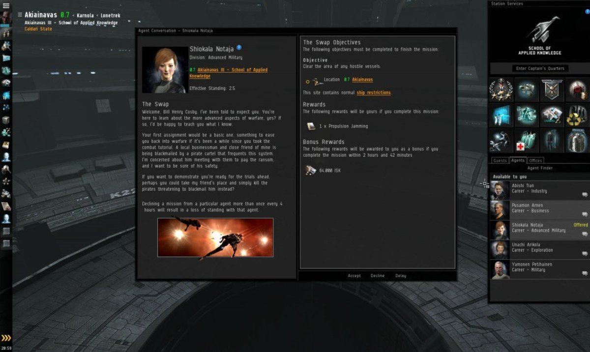 """""""EVE Online"""" Advanced Military Arc Guide: The Swap & Angel of Mercy (Missions 1 & 2)"""