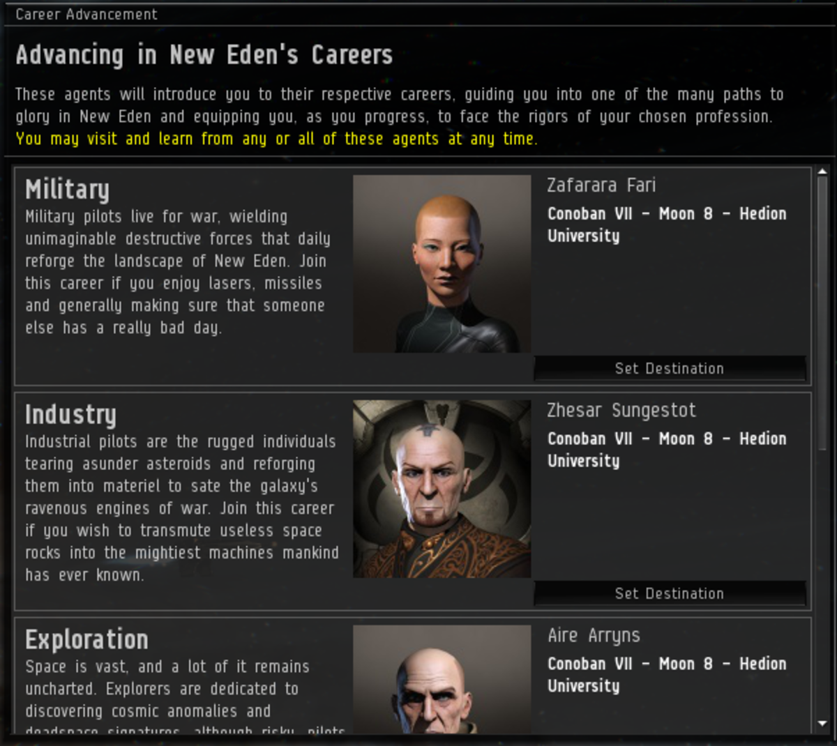 The Eve Career Advancement window.