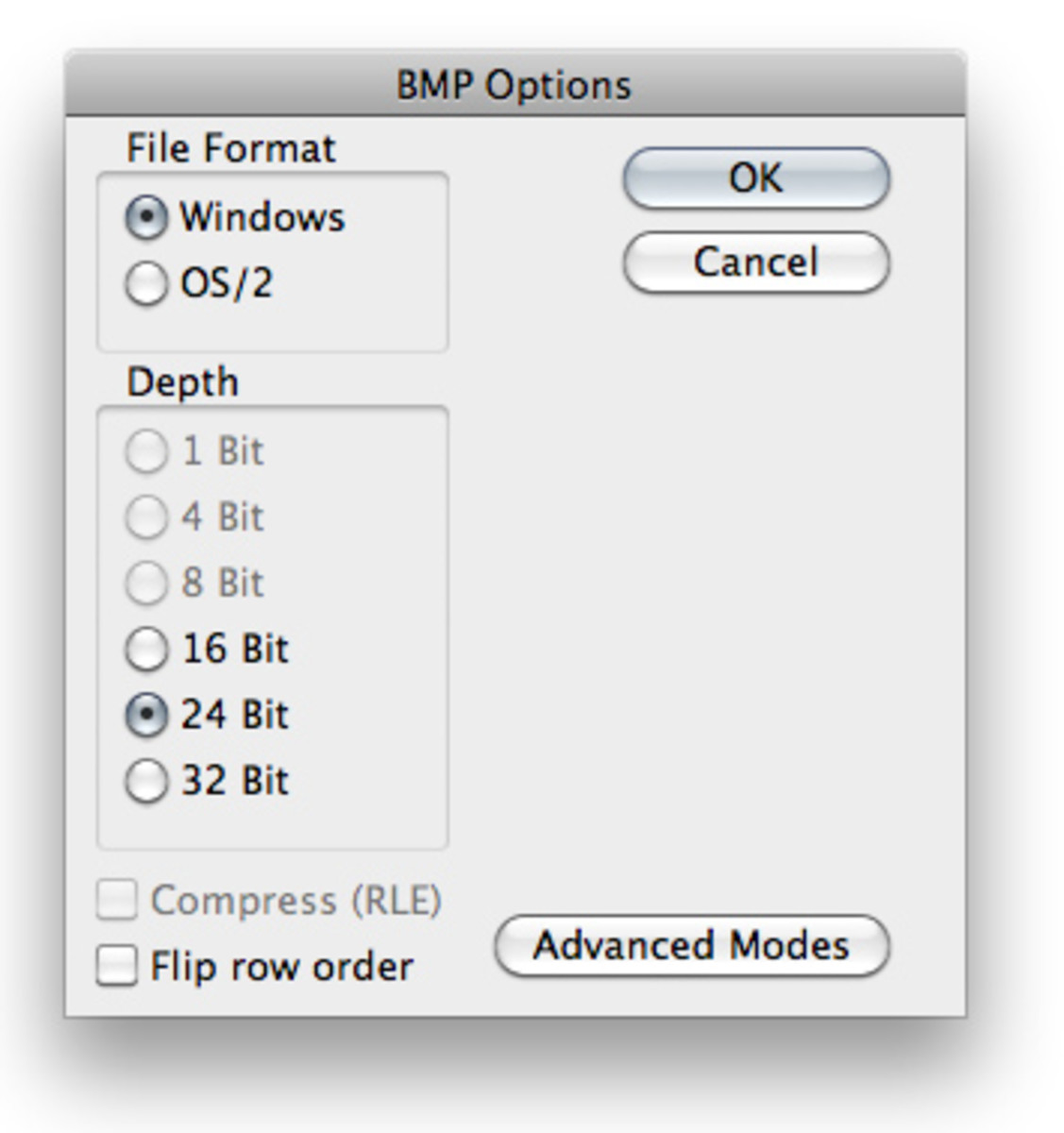 Photoshop Save Bitmap Dialog