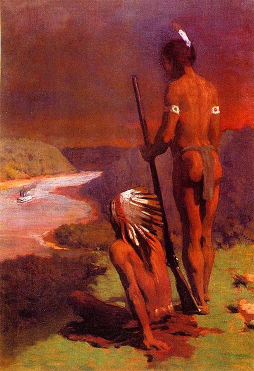 """Indians On the Ohio River."" Painting by Thomas Pollock Anschutz (1851 - 1917)."