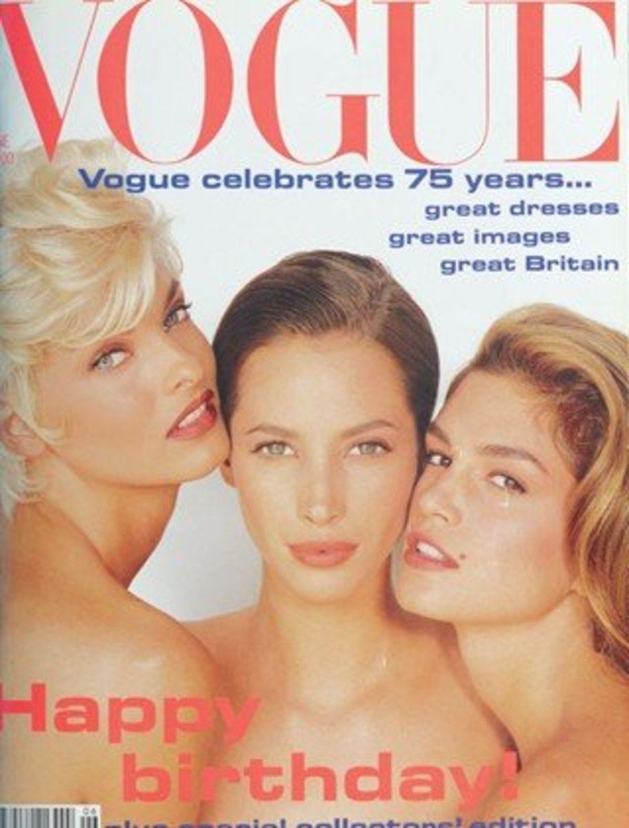 """Linda, Christy, and Cindy grace a 1991 cover of """"Vogue"""""""