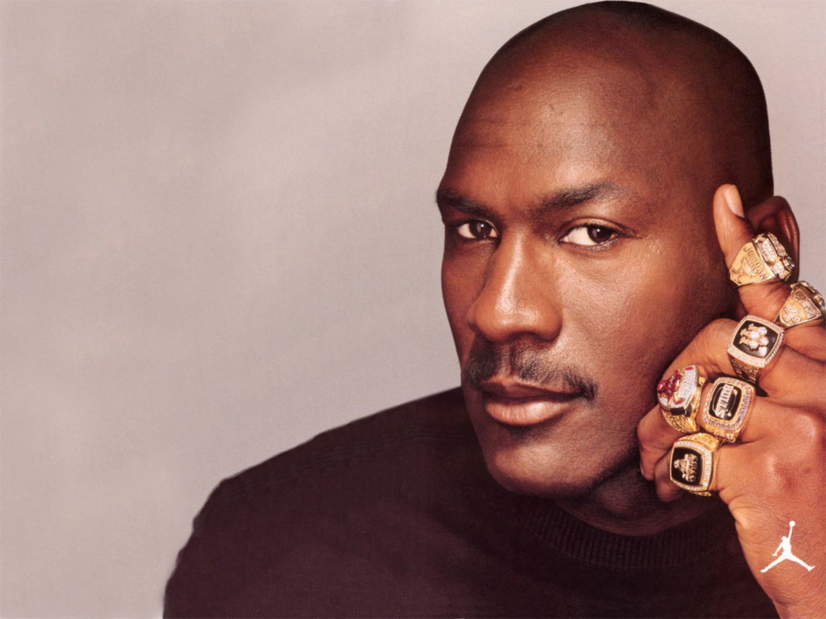 Michael Jordan shows off his six championship rings.