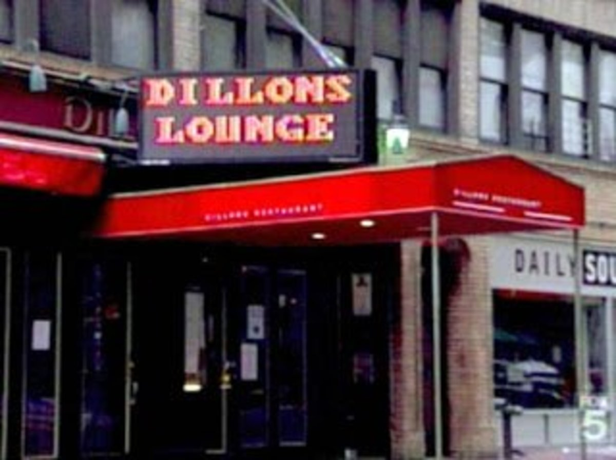 Dillon's Lounge has LED signage that looks like a scoreboard.