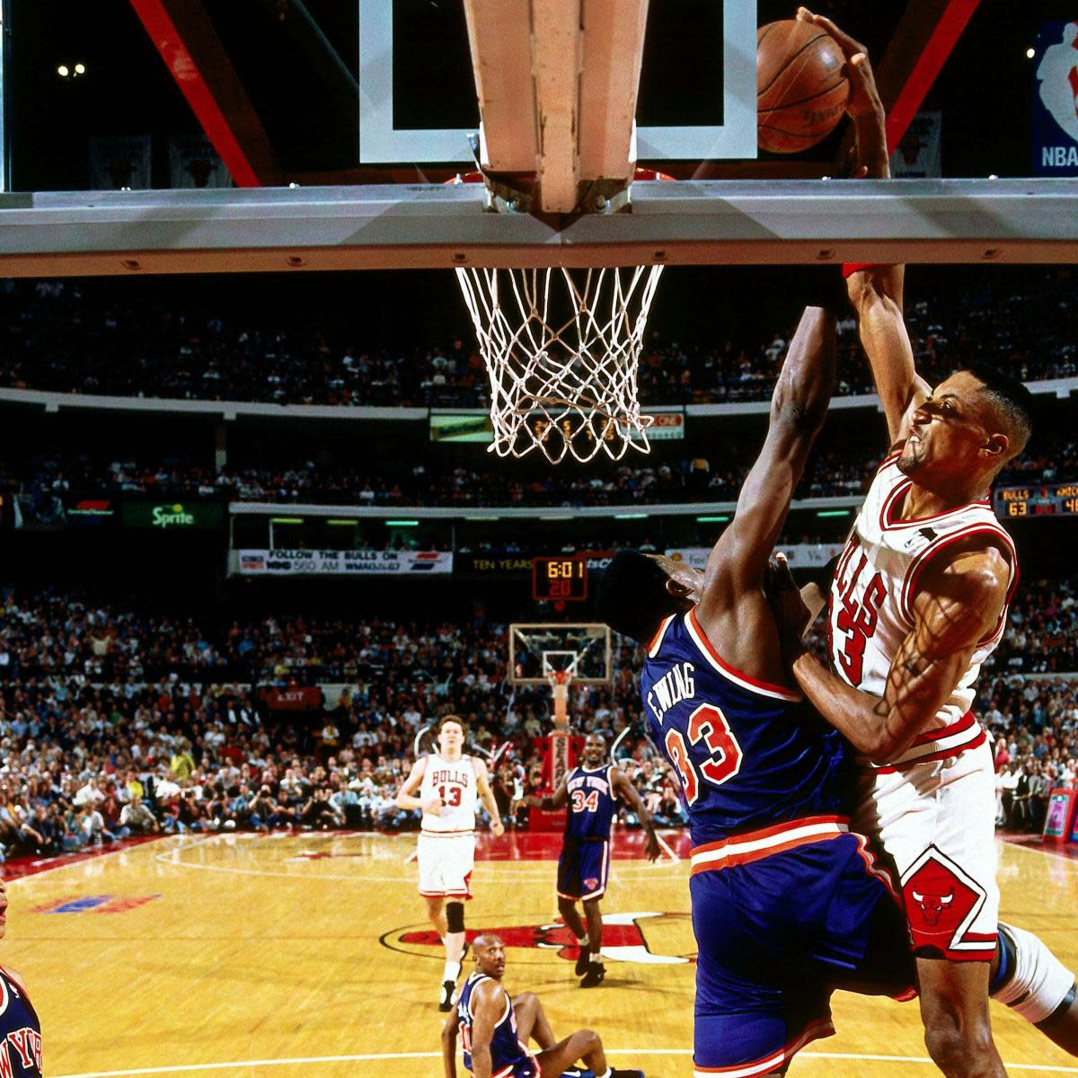 Scottie Pippen shows no fear in dunking over Patrick Ewing.