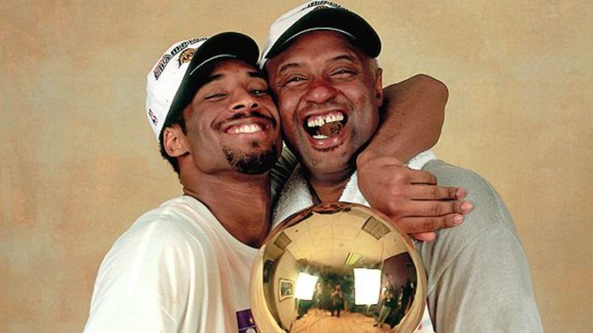 "Kobe Bryant celebrates with dad Joe ""Jellybean"" Bryant."