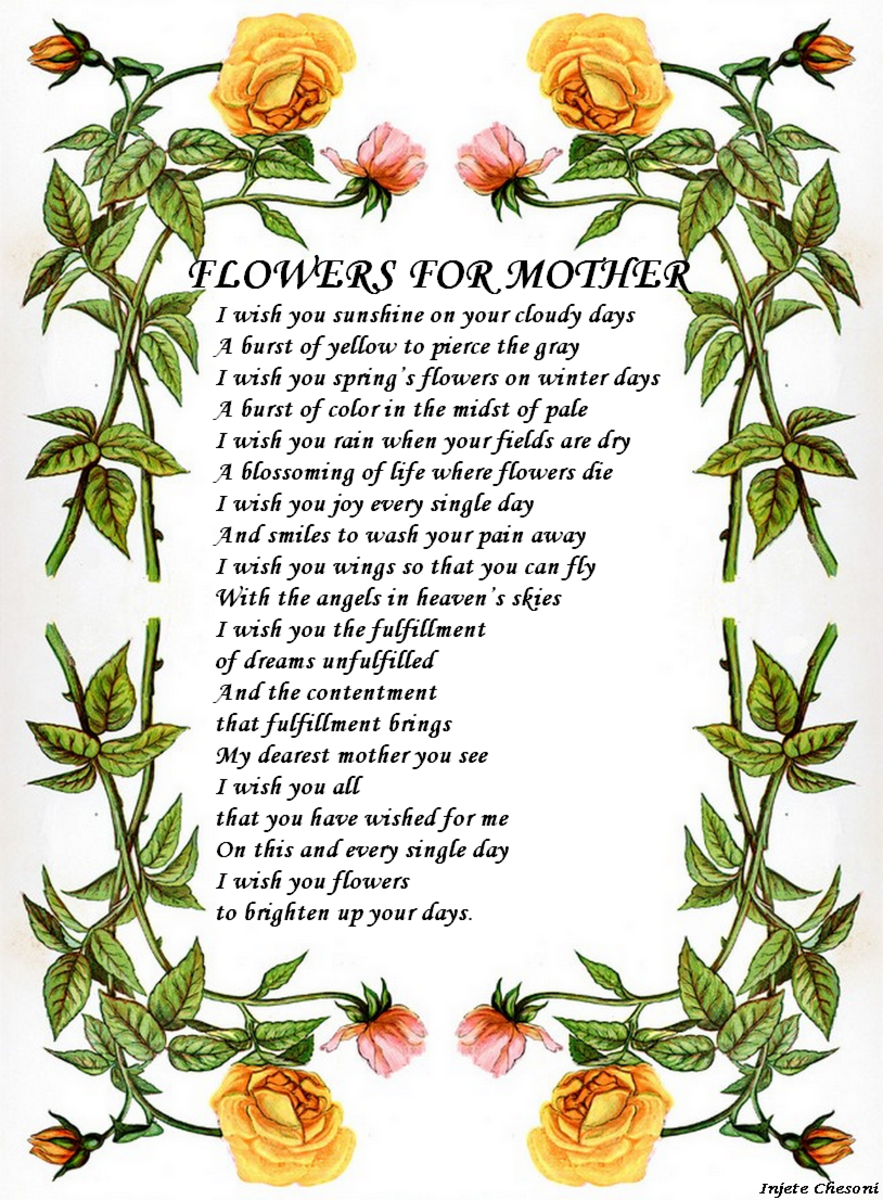 Flowers for Mother Poetry Poster from