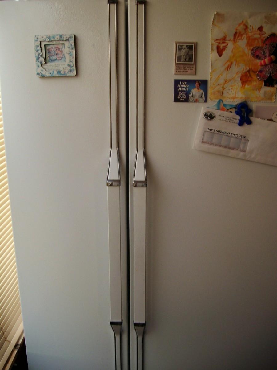 A side-by-side refrigerator