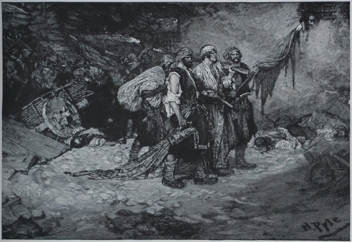 Depiction of Pirates in a plunder.