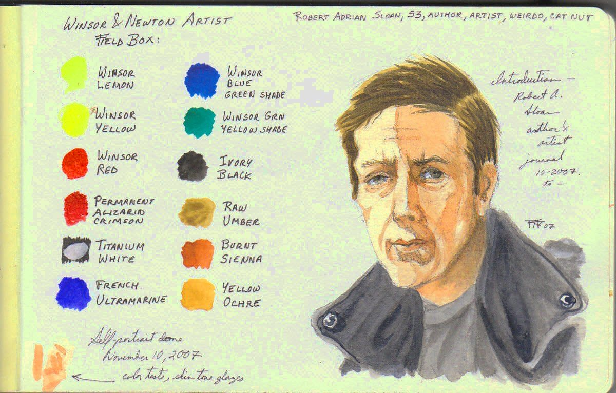 "Self portrait, Winsor & Newton Artists' Field Box watercolors in 5"" x 8 1/2"" Moleskine watercolor journal. Copyright Robert A. Sloan, October 2007, all rights reserved."