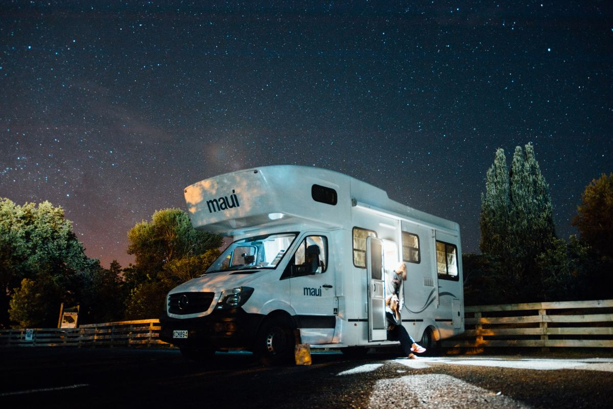 An RV can become very uncomfortable if it becomes too hot, like this RV sitting somewhere in an overnight campsite.