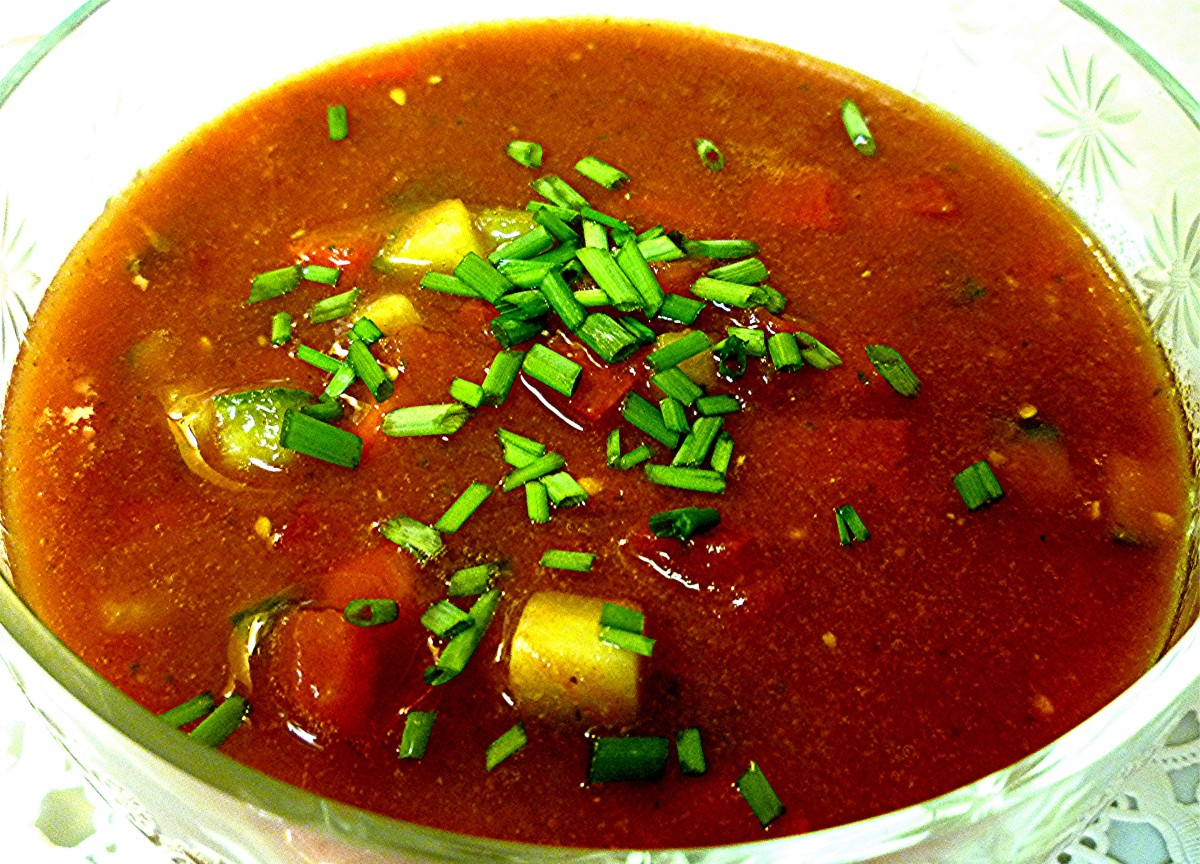 Serving of Gazpacho Soup