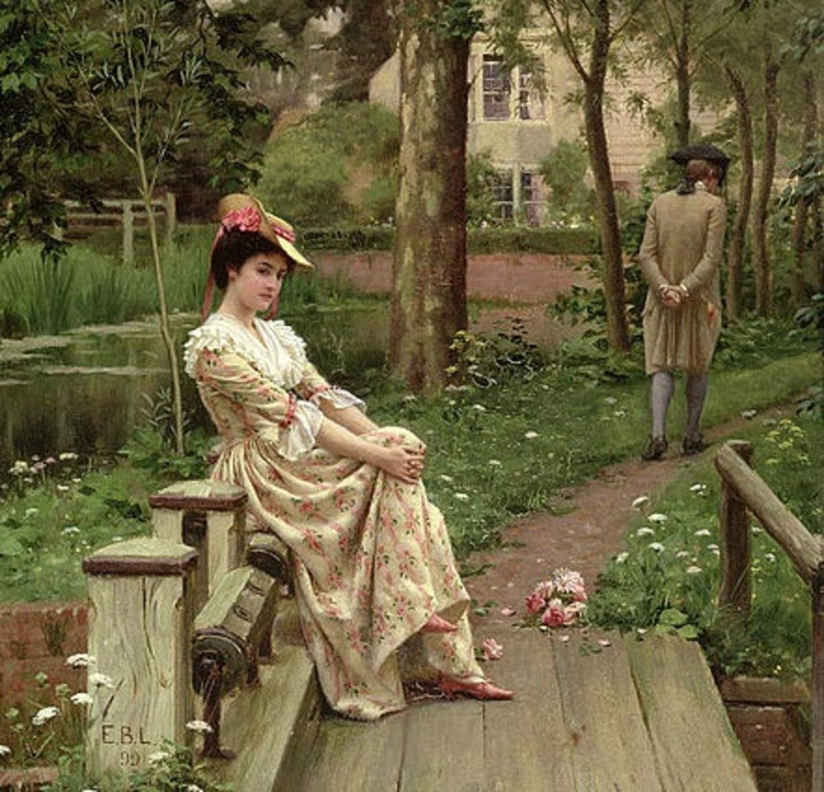 Painting (1900) by Edmund Blair Leighton.  Edited