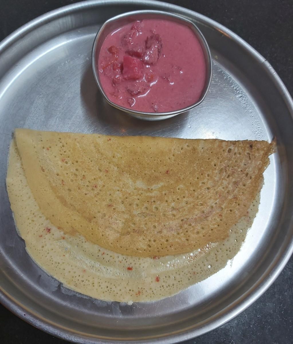 South-Indian Instant Semolina Aval Dosa Recipe