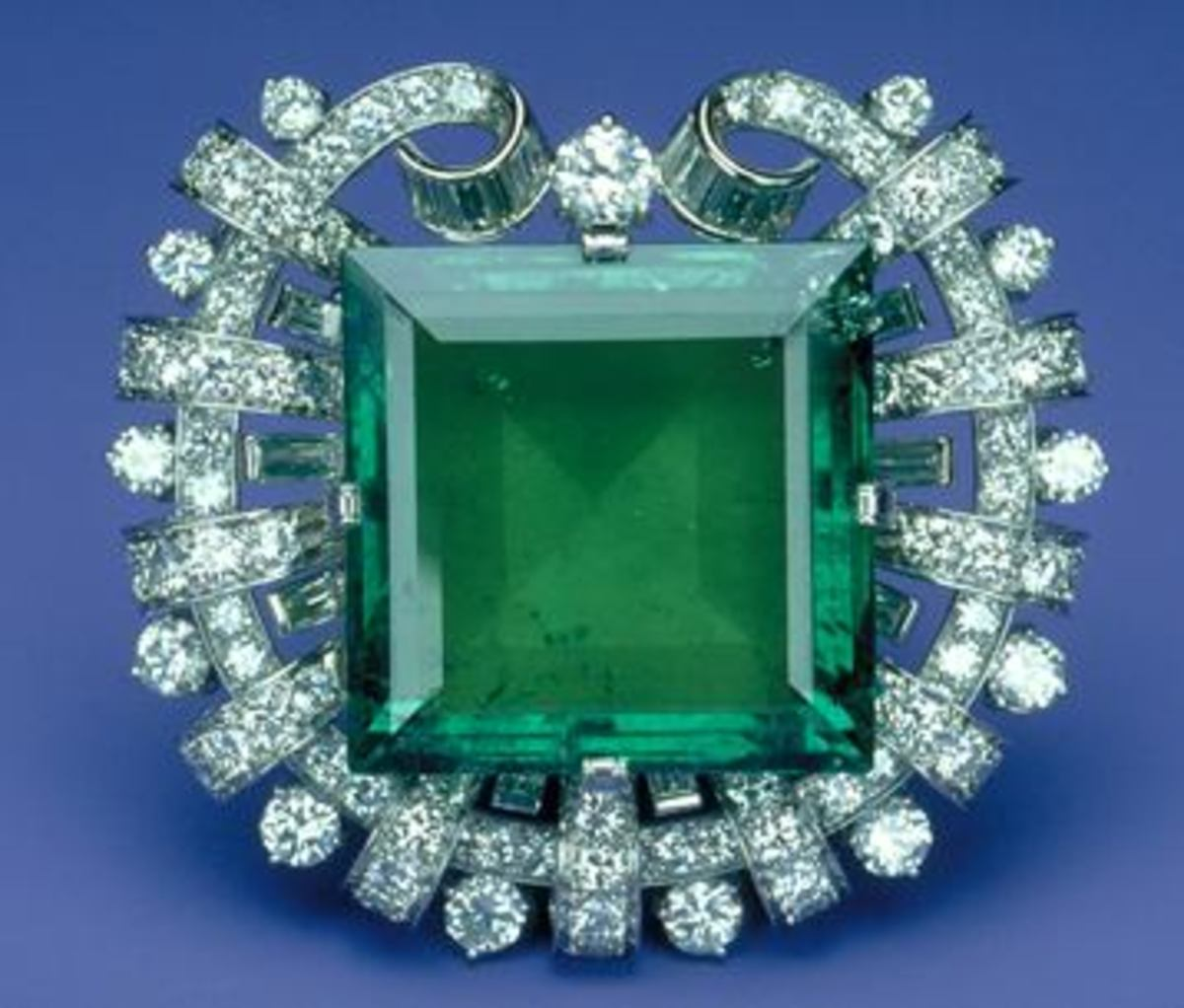 1950 platinum brooch by Tiffany and Co. with 75.47 carat Colombian emerald and 13 carats white diamonds.