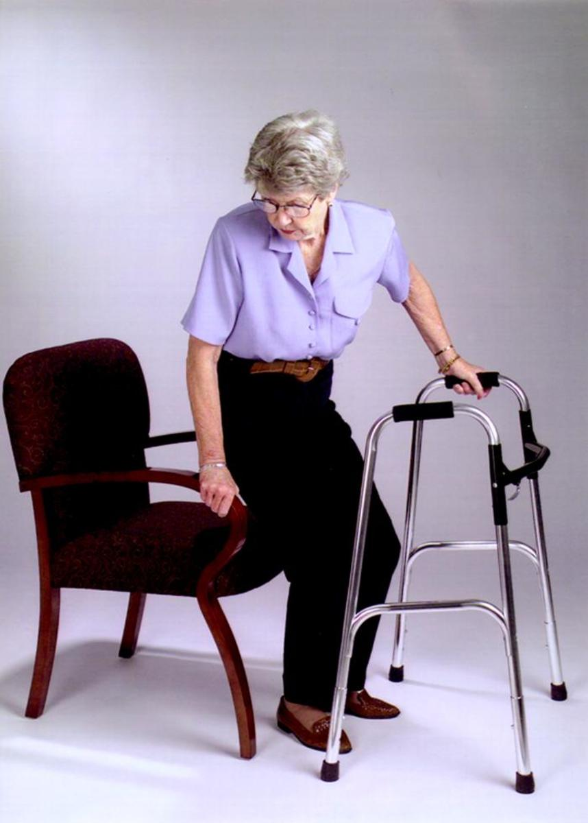 Chairs with arms can help you stabilize while standing up or sitting down.
