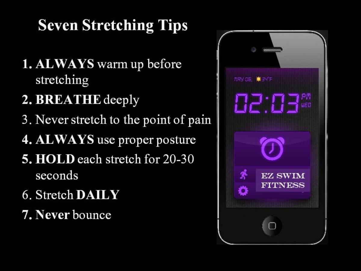 Colorful black and purple exercise poster detailing seven stretching tips