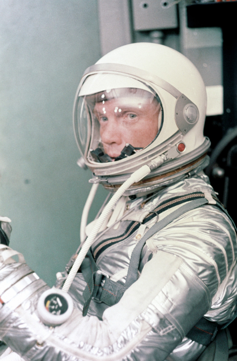 Mercury astronaut John H. Glenn Jr., suited up before launch. Photo courtesy of NASA.
