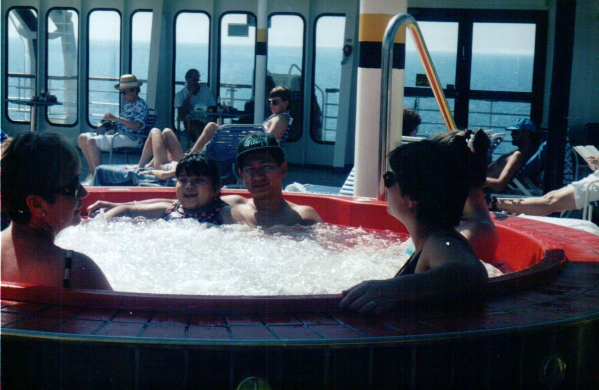 But for most families with children on the spectrum, it's anything but. Here's a photo of me and my late father chilling out in the whirlpool on the Carnival Fantasy in February 1996.