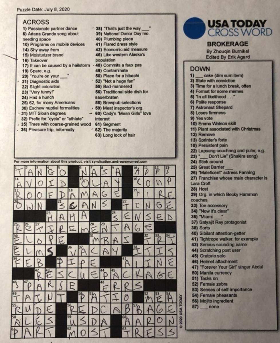 BROKERAGE – 8 JULY 2020 USA TODAY CROSSWORD By Zhouqin Biurnikel Edited by Erik Agard