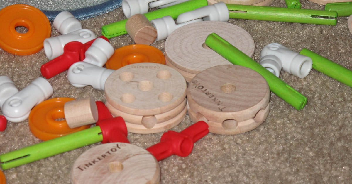 The new TinkerToy comes with classic wooden shapes and connectors but add several fun new pieces as well, including wheels and hinges.