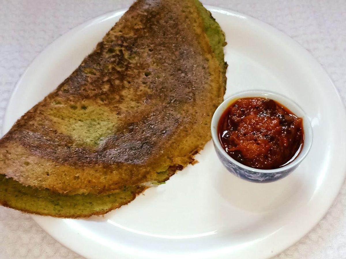 South Indian Pesarattu Dosa Recipe (Moong Dal Dosa)
