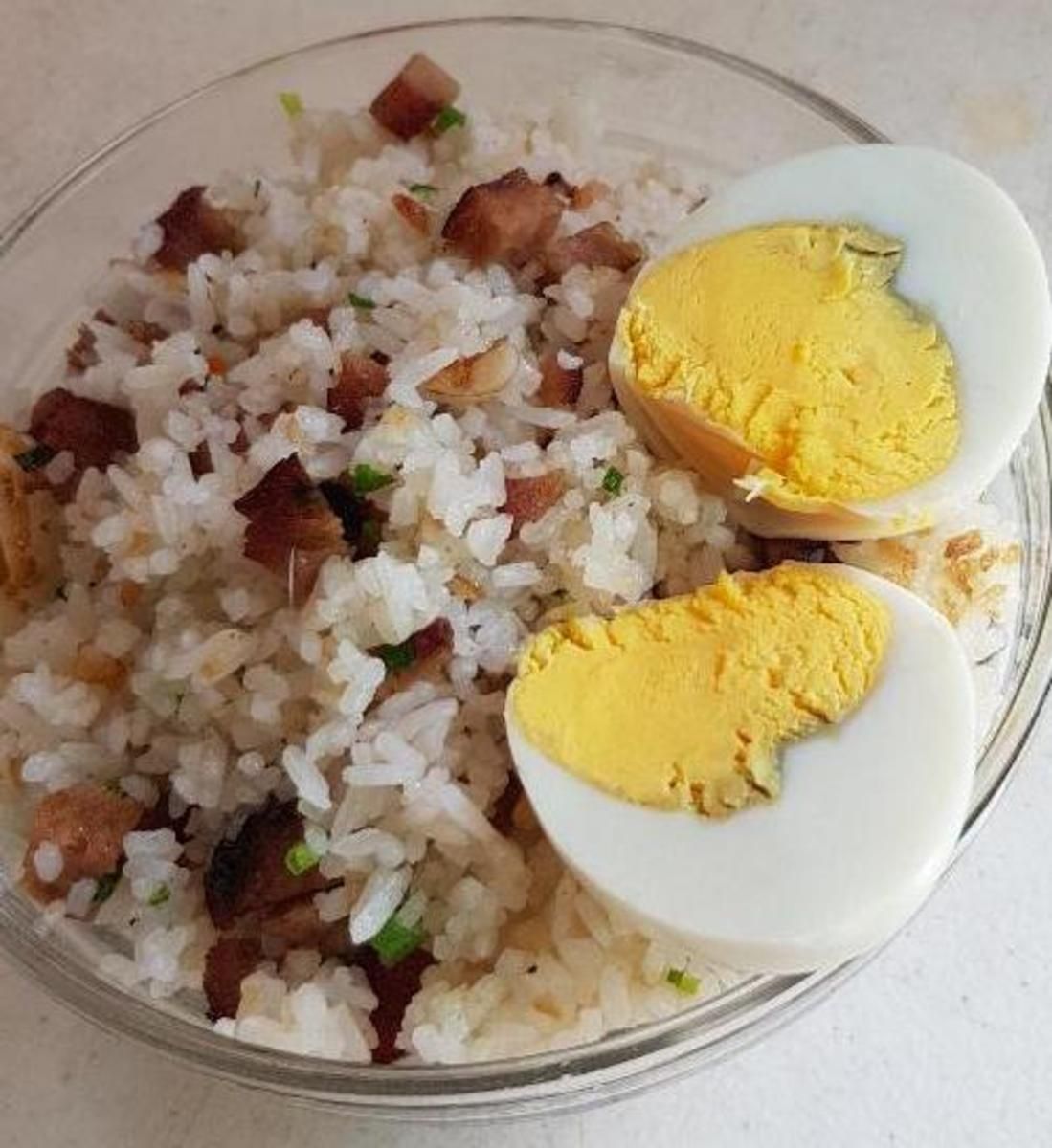 Fried Rice with Embutido and Boiled Egg