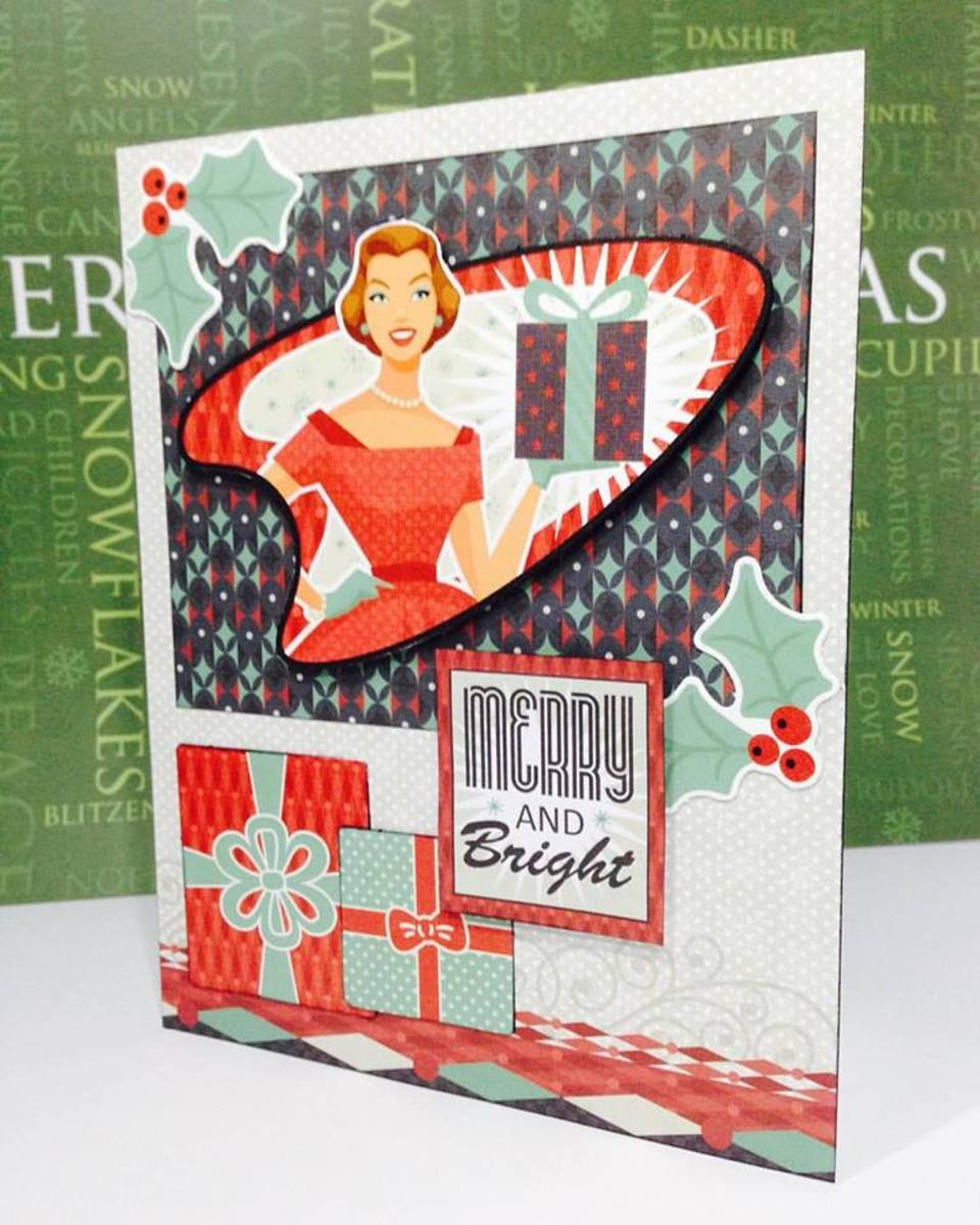 Card made by Fabrizio Martellucci using Hot Off the Press Artful Card Kit Santa Baby.