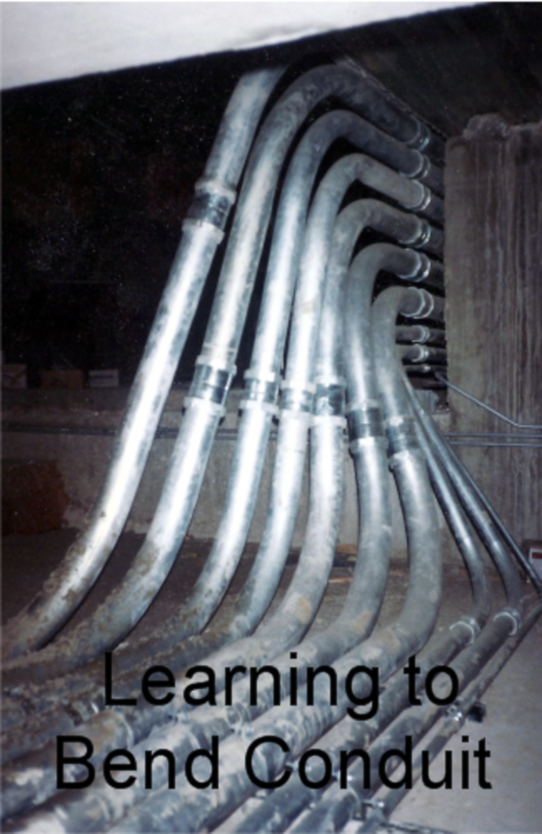 Pipe bending instructions an electrical conduit