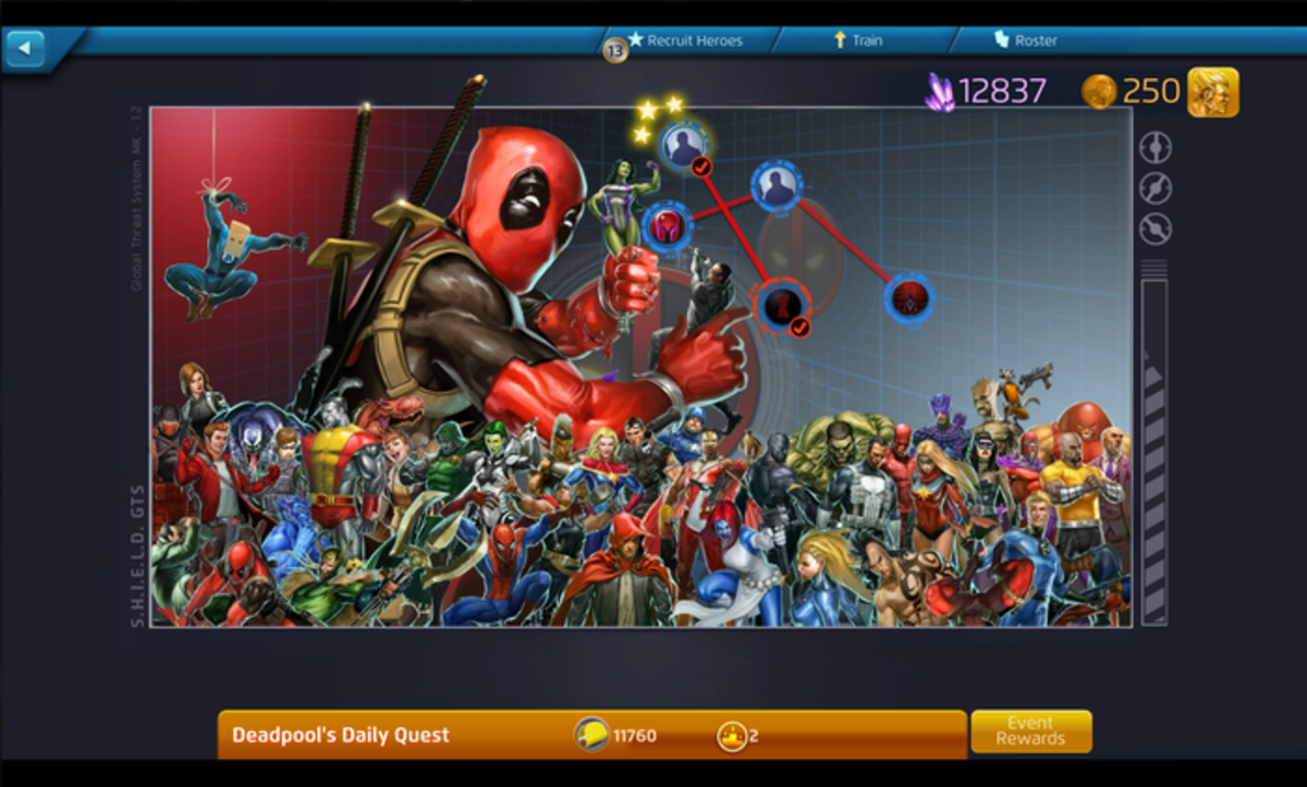 Deadpool's Daily Quest is divided into five mission nodes.