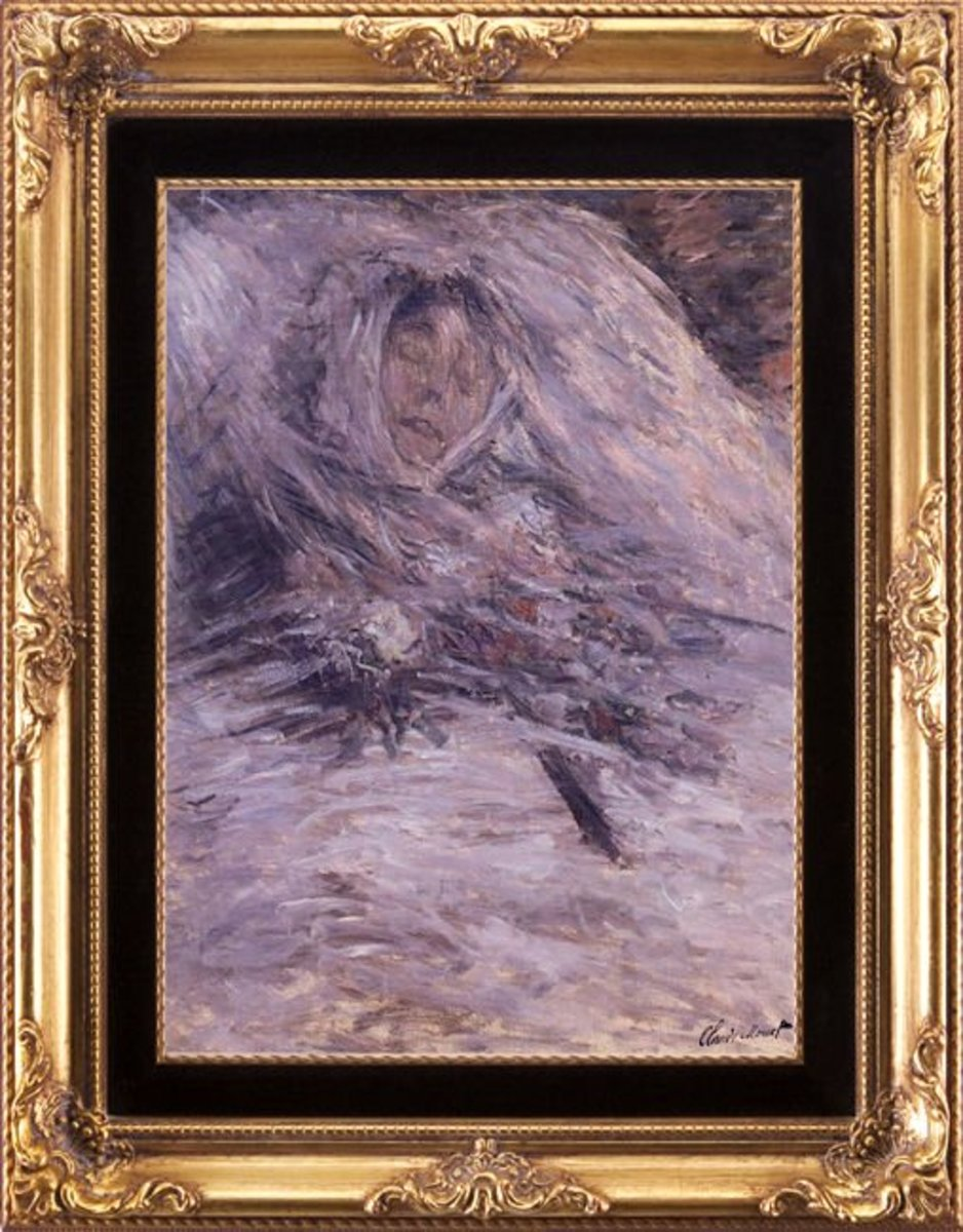 """Camille Monet sur son lit de mort,"" by Claude Monet"