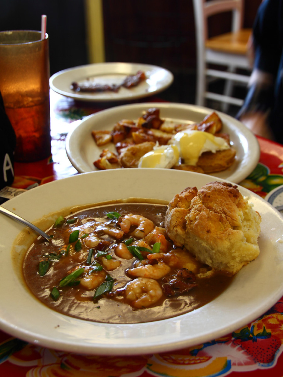 Biscuits are perfect quick breads for many dishes, including shrimp and grits (above).