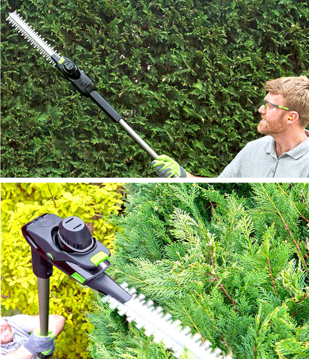 Pole hedge trimmers help keep your feet firmly on the ground.