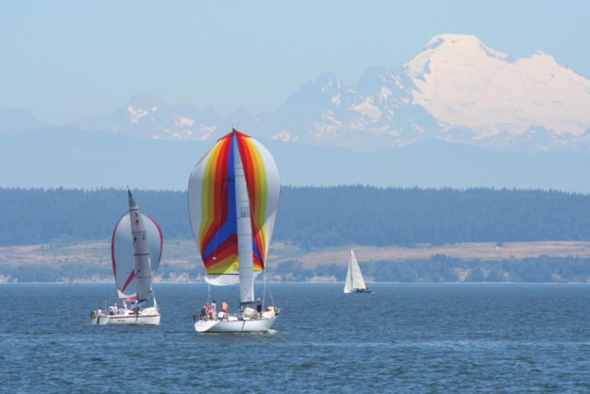 Mt. Baker in background and sailboats during Whidbey Island Race Week 2008