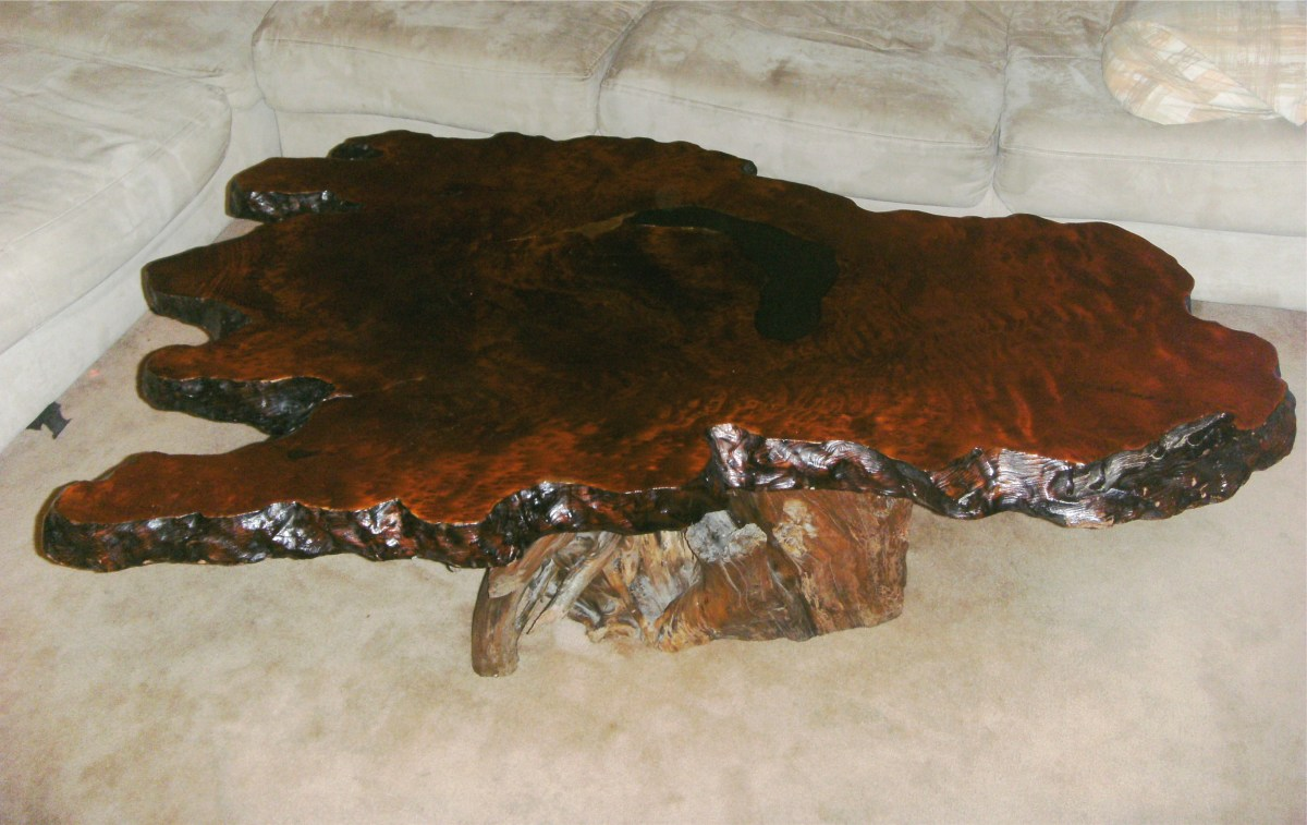 A unique blend of old, rough driftwood and beautifully finished redwood burl.