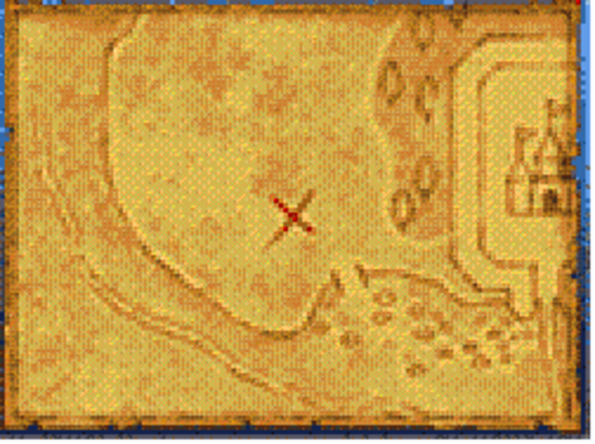 This is invariably the location that the first treasure map will lead to. This is located a little to the west of Stornway.