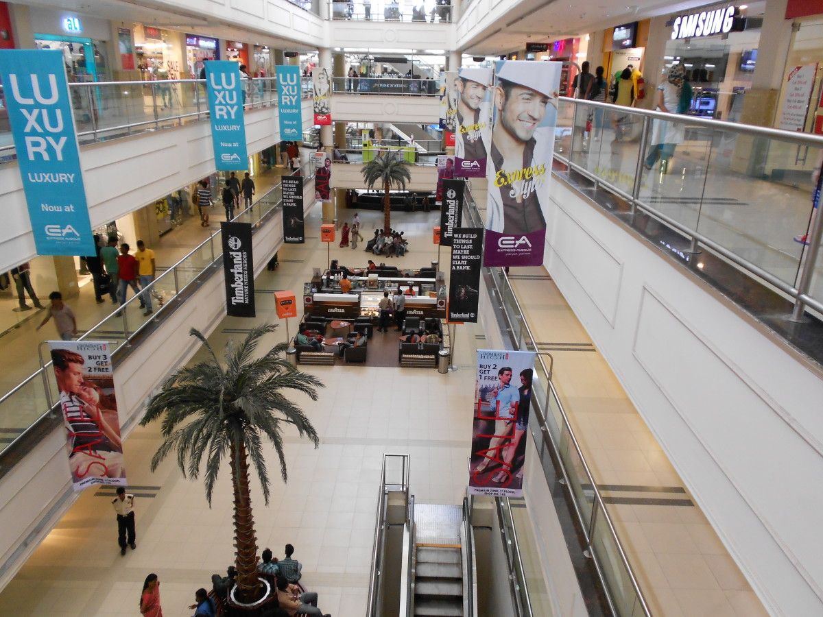 The interior of Express Avenue Mall, home to Big Bazaar, a popular retailer of cheap clothing.
