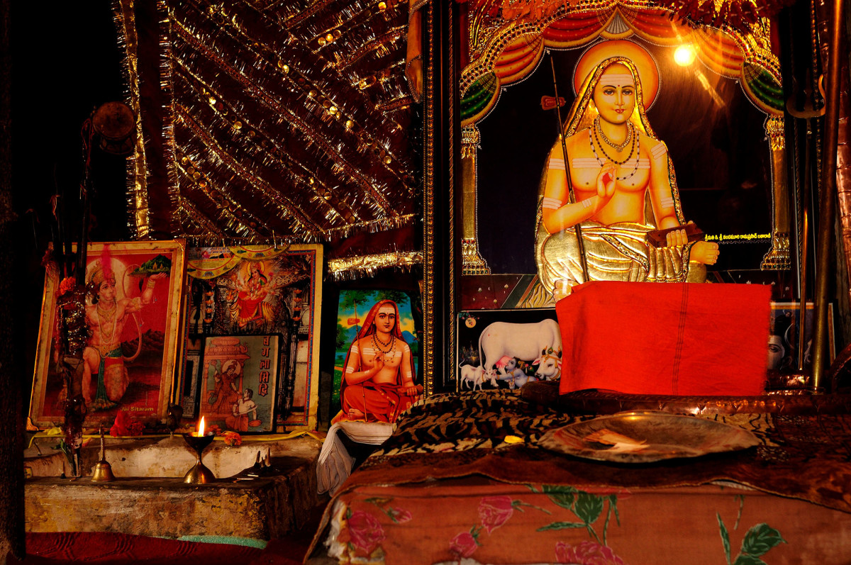 The memorial to the Adi Shankaracharya inside the Shankaracharya Temple.