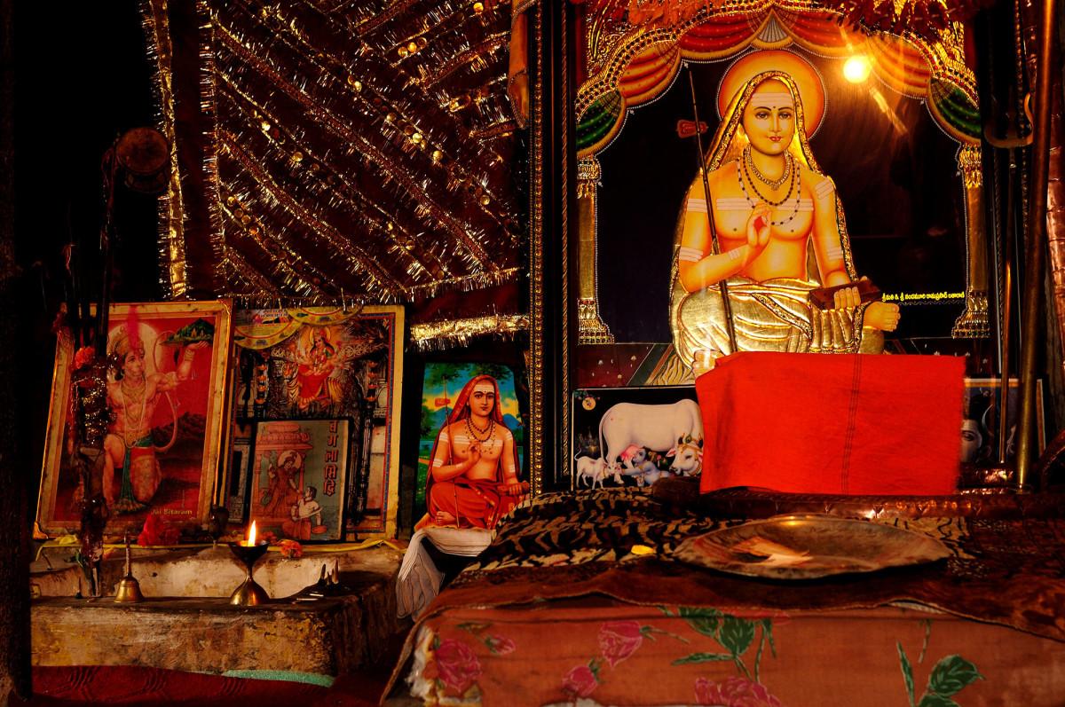 The memorial to the Adi Shankaracharya inside the Shankaracharya Temple.