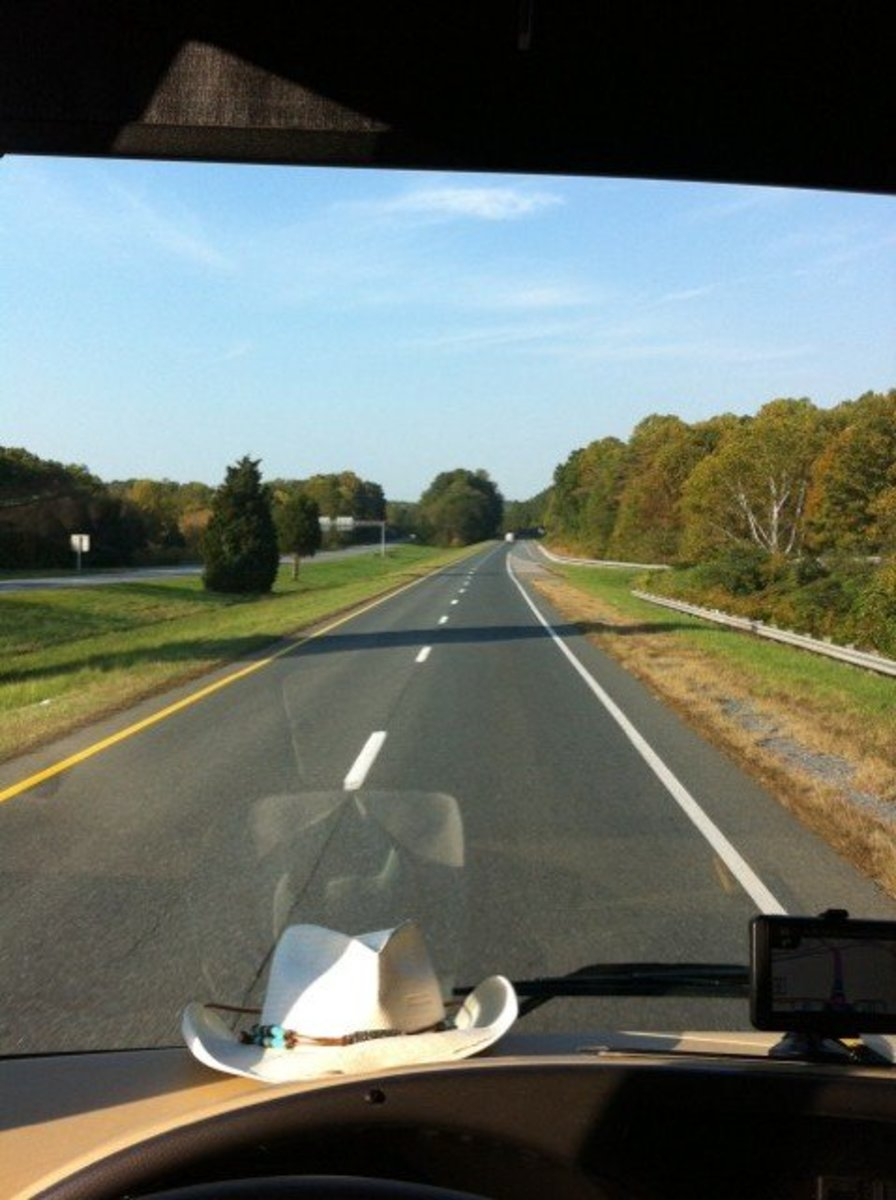The driver's view of the Road in a motorhome.
