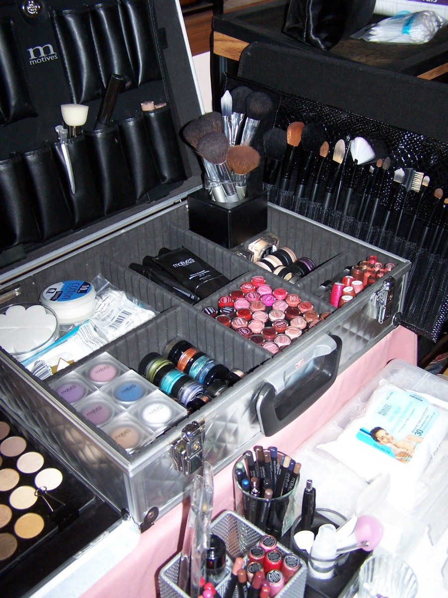 a case filled with makeup