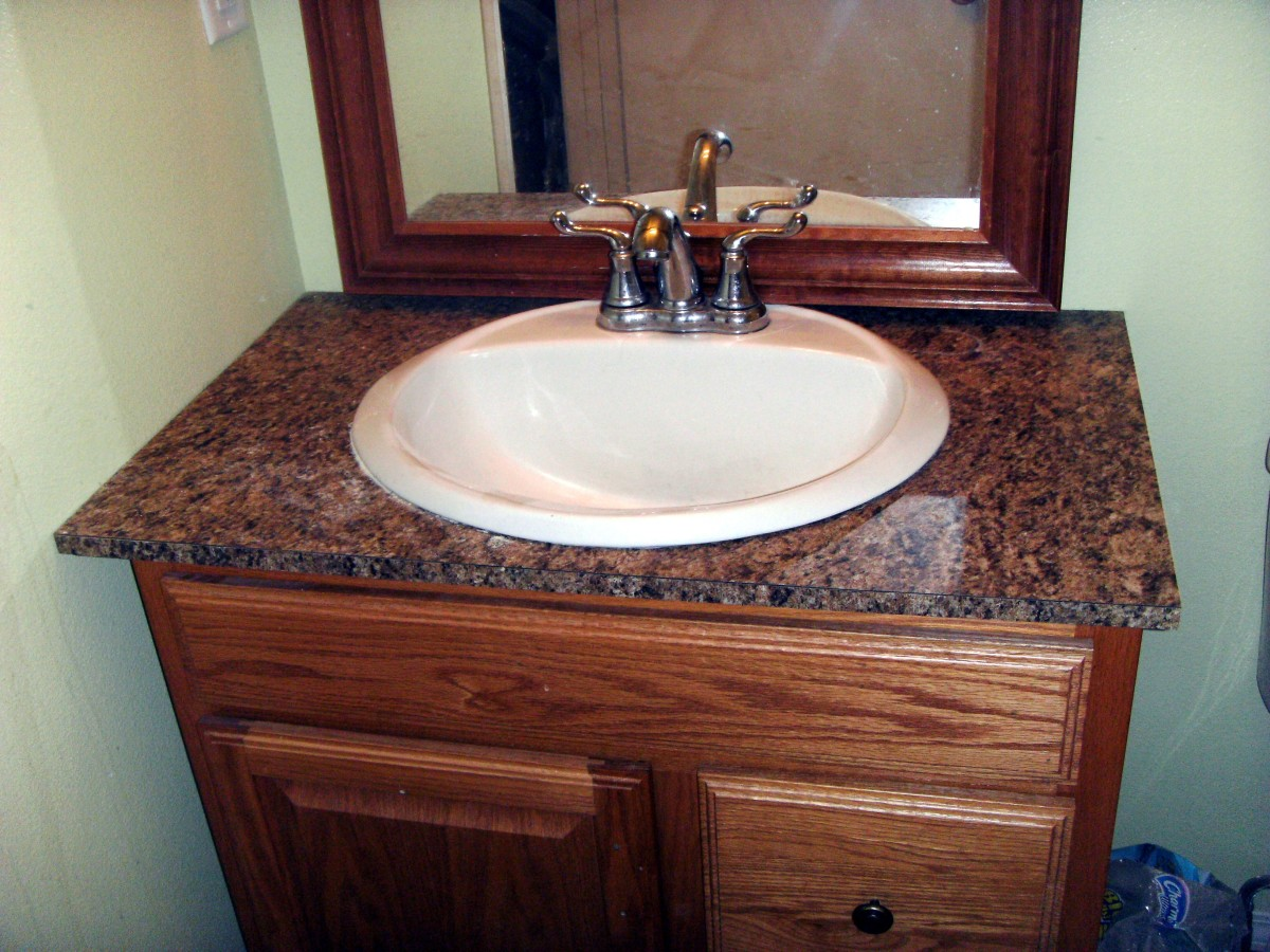 how to install laminate formica for a bathroom vanity countertop hubpages. Black Bedroom Furniture Sets. Home Design Ideas