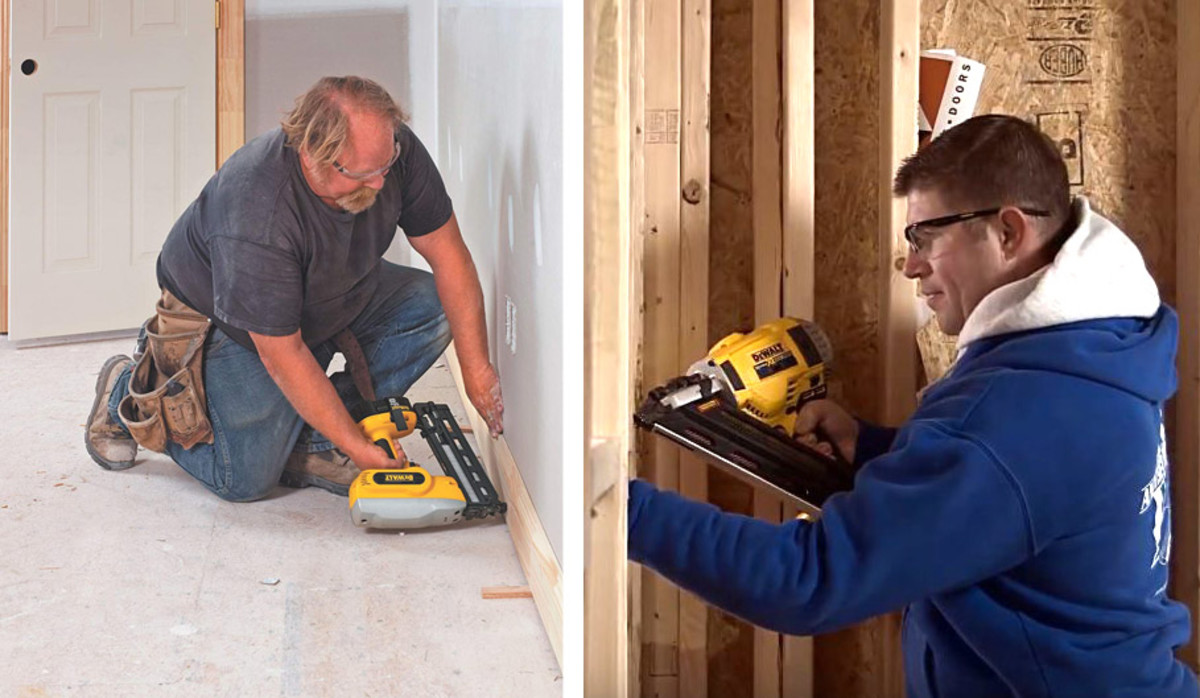 Cordless finishing nail gun (left) and framing nailer (right),