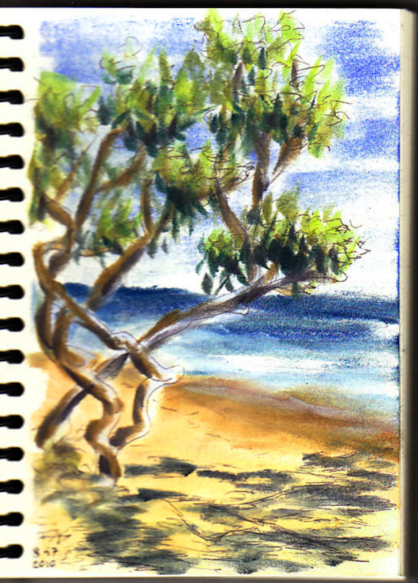 "Pen and Pastels. Jamaica Beach Scene sketch by Robert A. Sloan, 5"" x 7"" in ball point pen and Pan Pastels on Pentalic Nature Sketch paper. Photo reference by VladK on WetCanvas.com."